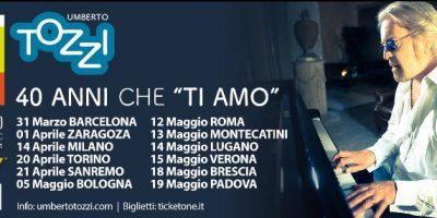 """Umberto Tozzi torna live con """"40 anni che TI AMO"""""""