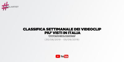 CLASSIFICA – I 50 videoclip più visti della settimana (30/08/2019 – 05/09/2019)