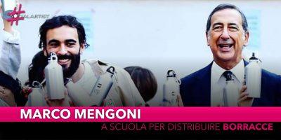 Marco Mengoni, insieme a Beppe Sala per distribuire borracce in una scuola di Milano
