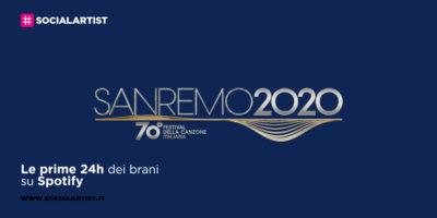 Sanremo 2020, le prime 24h dei brani sanremesi su Spotify