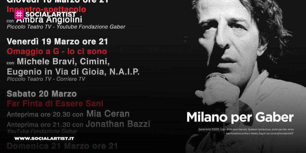 Milano per Gaber, dal 18 marzo la nuova edizione